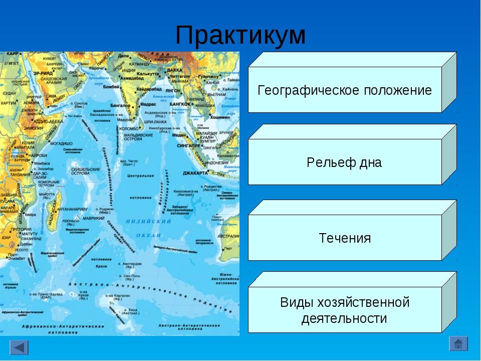 Практикум Географическое положение Рельеф дна Течения Виды хозяйственной деят...