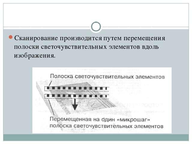 Сканирование производится путем перемещения полоски светочувствительных элеме...