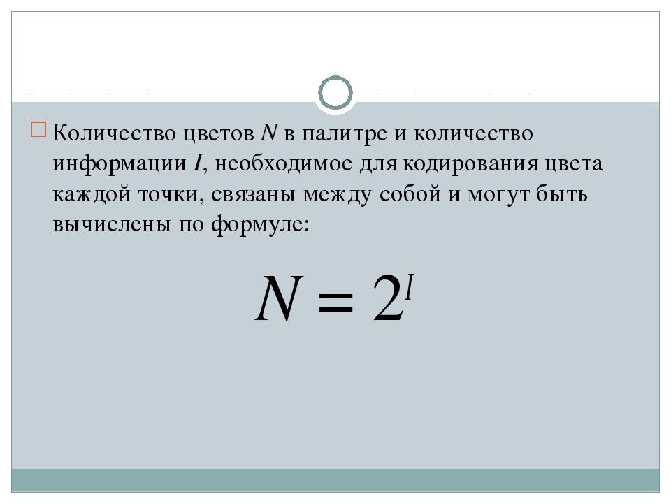 Количество цветов N в палитре и количество информации I, необходимое для коди...