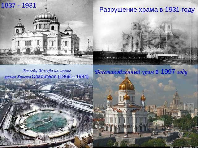 Бассейн Москва на месте храма Христа Спасителя (1968 – 1994) 1837 - 1931 Разр...