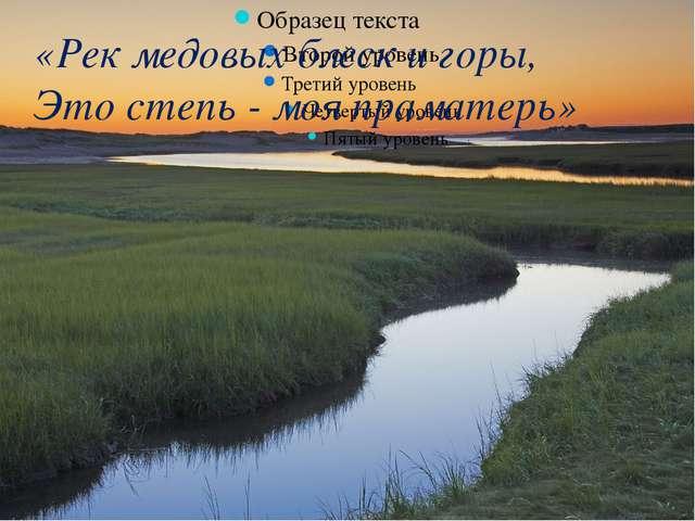 «Рек медовых блеск и горы, Это степь - моя праматерь»