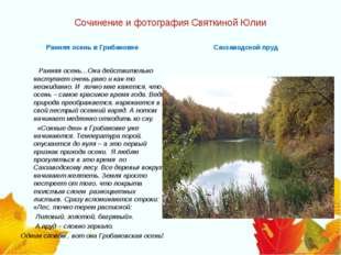 Сочинение и фотография Святкиной Юлии Ранняя осень в Грибановке  Ранняя осен