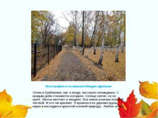 Фотография и сочинение Мандич Дмитрия Осень в Грибановке, как и везде, наступ