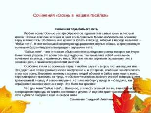 Сочинения «Осень в нашем посёлке» Сказочная пора бабьего лета. Люблю ос