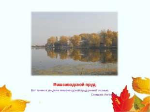 Машзаводской пруд Вот таким я увидела машзаводской пруд ранней осенью. Сп