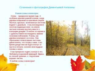 Сочинение и фотография Дементьевой Ангелины Ранняя осень в моем крае.  Осе