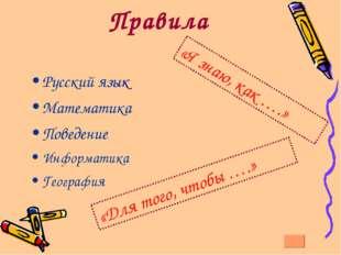 Правила Русский язык Математика Поведение Информатика География «Я знаю, как
