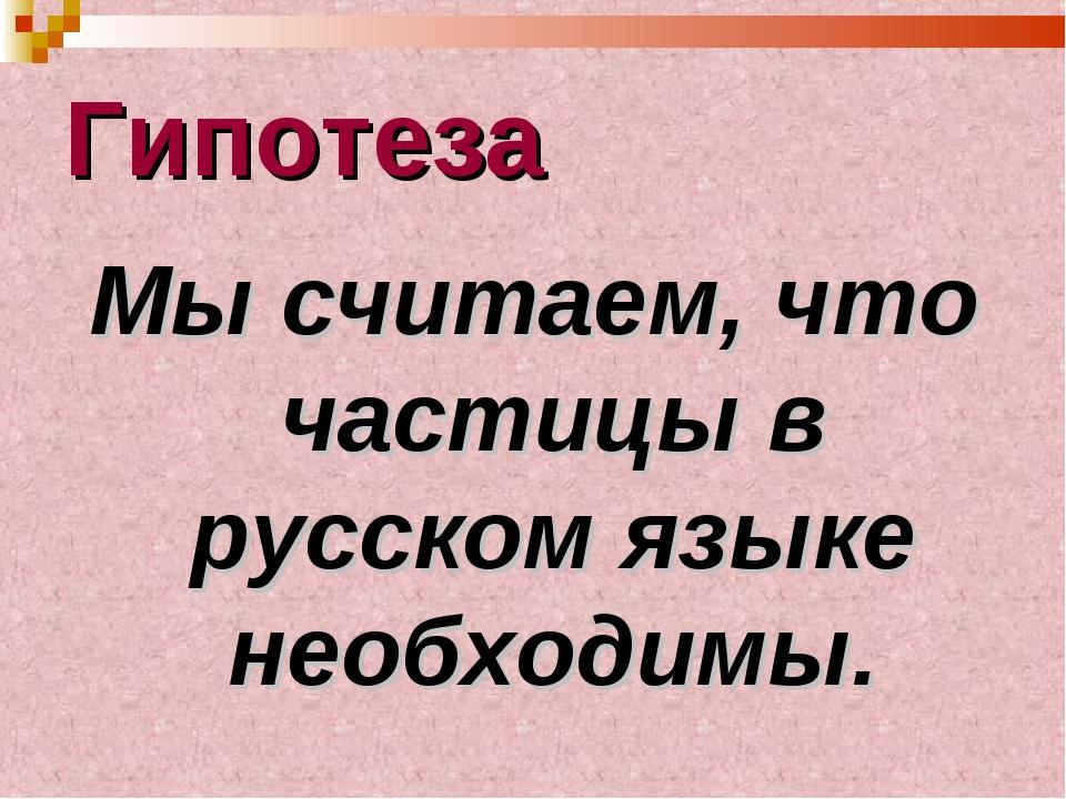 Гипотеза Мы считаем, что частицы в русском языке необходимы.