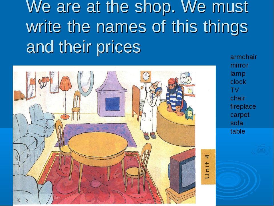We are at the shop. We must write the names of this things and their prices a...