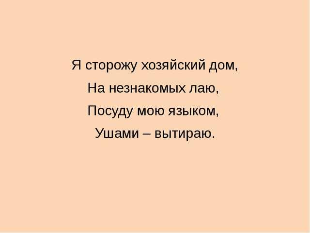 Я сторожу хозяйский дом, На незнакомых лаю, Посуду мою языком, Ушами – вытир...