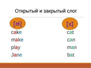 [ei] Открытый и закрытый слог cake cat make can play man Jane bat [x]