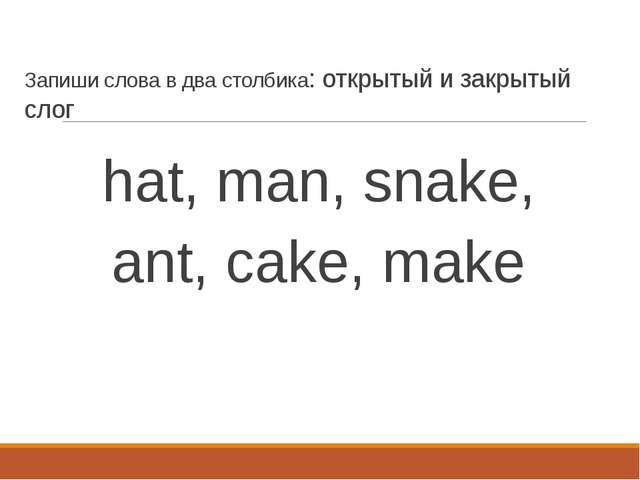 Запиши слова в два столбика: открытый и закрытый слог hat, man, snake, ant, c...