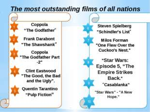 "The most outstanding films of all nations 1 2 3 4 5 Coppola ""The Godfather"""