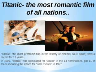 """Titanic""- the most profitable film in the history of cinema( $1.8 billion) h"