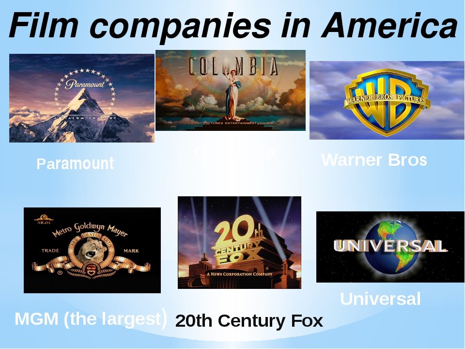 Film companies in America Paramount 20th Century Fox Warner Bros Universal Co...