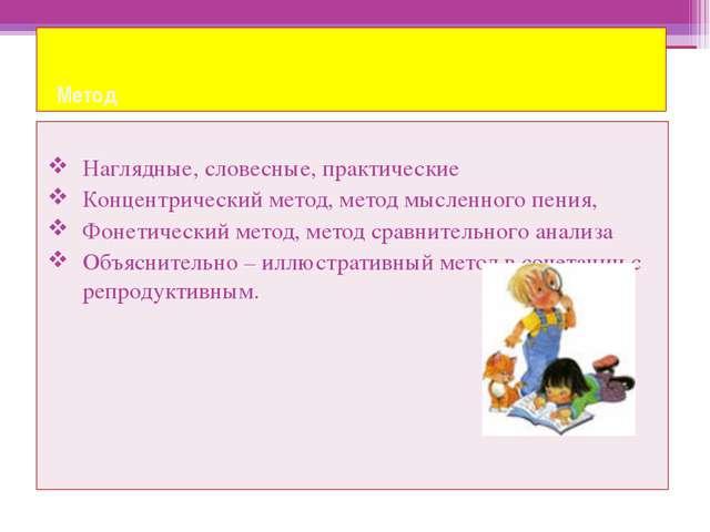 Метод Наглядные, словесные, практические Концентрический метод, метод мыслен...