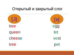 [J] Открытый и закрытый слог bee egg queen let cheese vest tree pet [e]