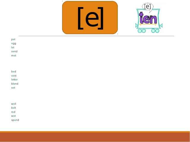 pet egg let send met bed vest letter blend set well belt red wet spend [e]