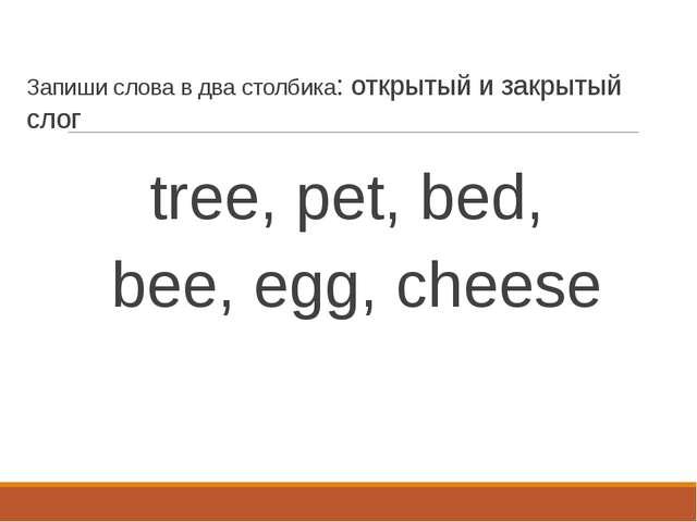 Запиши слова в два столбика: открытый и закрытый слог tree, pet, bed, bee, eg...