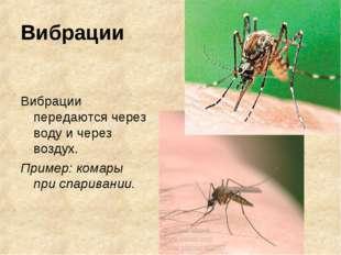 Вибрации Вибрации передаются через воду и через воздух. Пример: комары при сп