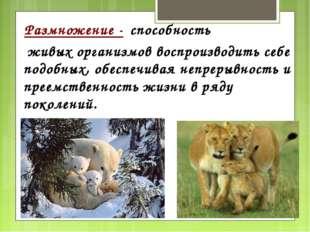 Размножение - способность живых организмов воспроизводить себе подобных, обе