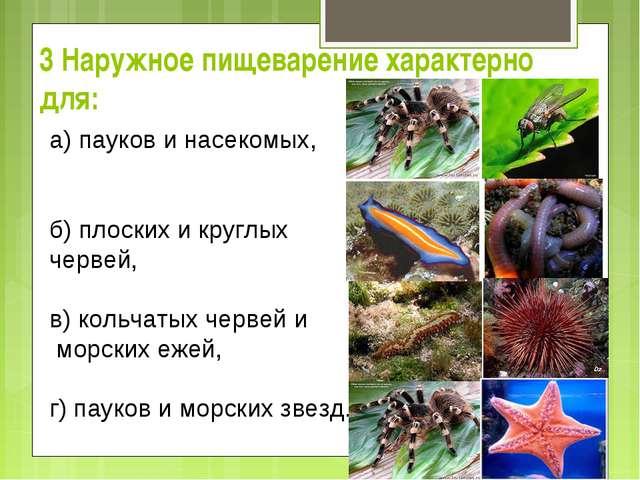 3 Наружное пищеварение характерно для: а) пауков и насекомых, б) плоских и...