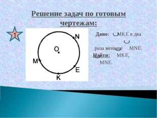 Решение задач по готовым чертежам: Дано: MKE в два раза меньше MNE. Найти: MK