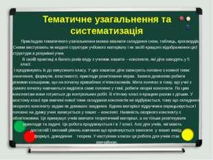 Тематичне узагальнення та систематизація Прикладом тематичного узагальнення м