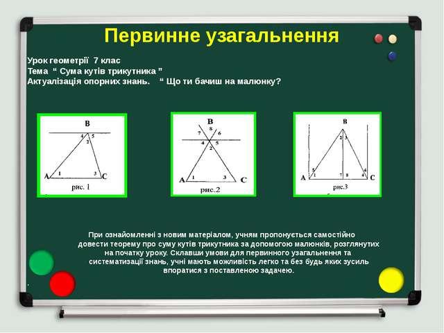 """Первинне узагальнення Урок геометрії 7 клас Тема """" Сума кутів трикутника """" Ак..."""