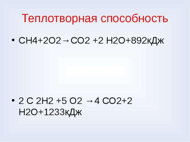 Теплотворная способность СН4+2О2→СО2 +2 Н2О+892кДж 2 С 2Н2 +5 О2 →4 СО2+2 Н2О...