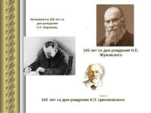 165 лет со дня рождения Н.Е. Жуковского 155 лет со дня рождения К.Э. Циолков