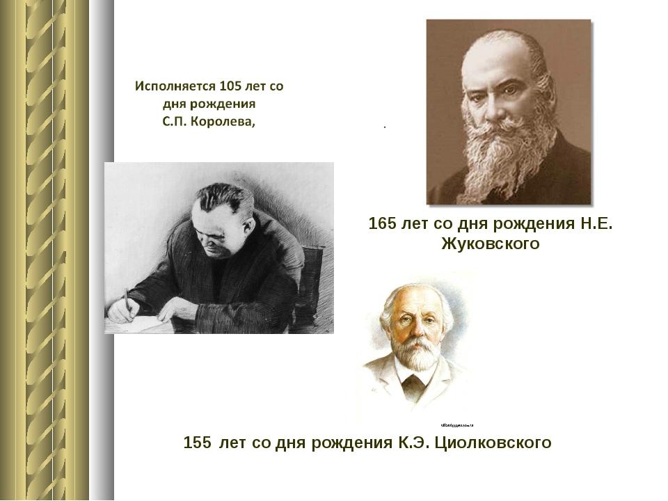 165 лет со дня рождения Н.Е. Жуковского 155 лет со дня рождения К.Э. Циолков...