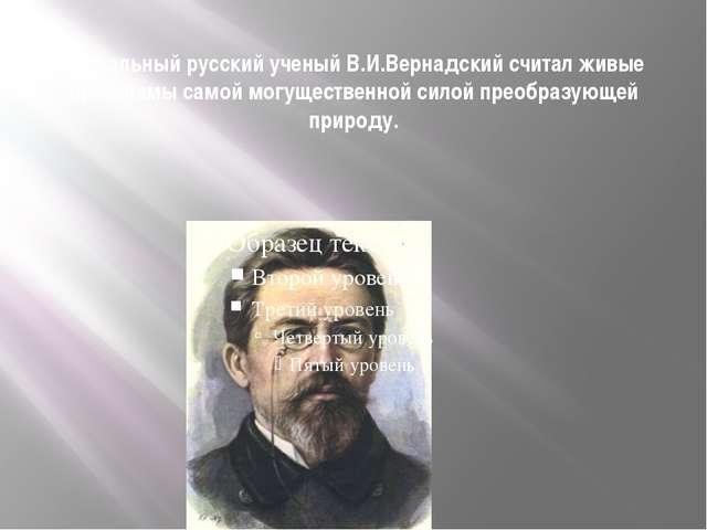 Гениальный русский ученый В.И.Вернадский считал живые организмы самой могущес...