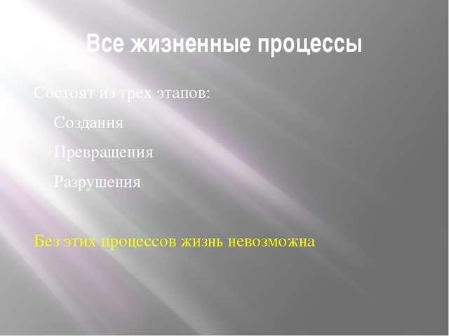 Все жизненные процессы Состоят из трех этапов: Создания Превращения Разрушени...