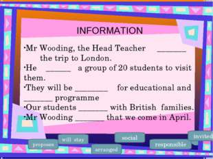 Mr Wooding, the Head Teacher _______ the trip to London. He ______ a group of