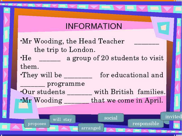 Mr Wooding, the Head Teacher _______ the trip to London. He ______ a group of...