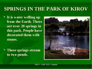 МБОУ СОШ №52 г.Кирова SPRINGS IN THE PARK OF KIROV It is water welling up fro
