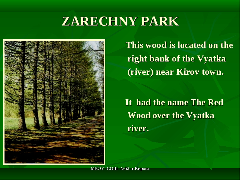 МБОУ СОШ №52 г.Кирова ZARECHNY PARK This wood is located on the right bank of...