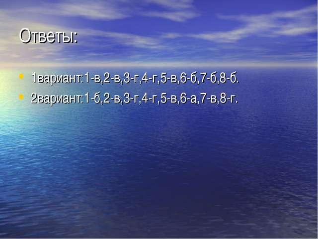 Ответы: 1вариант:1-в,2-в,3-г,4-г,5-в,6-б,7-б,8-б. 2вариант:1-б,2-в,3-г,4-г,5-...