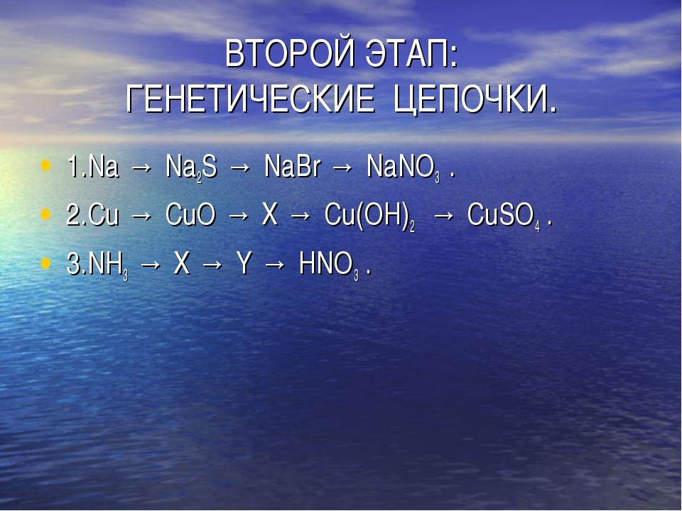 ВТОРОЙ ЭТАП: ГЕНЕТИЧЕСКИЕ ЦЕПОЧКИ. 1.Na → Na2S → NaBr → NaNО3 . 2.Cu → CuО →...