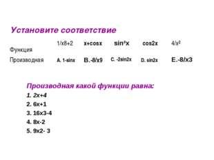 Установите соответствие Производная какой функции равна: 1. 2x+4 2. 6x+1 3. 1