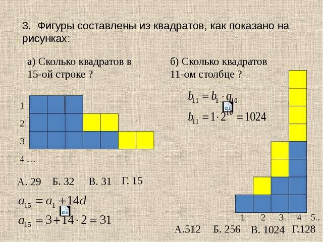 3. Фигуры составлены из квадратов, как показано на рисунках: а) Сколько квадр...