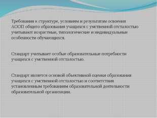 Требования к структуре, условиям и результатам освоения АООП общего образован