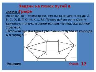 12 Задачи на поиск путей в Графе Задача 1. На рисунке – схема дорог, связы