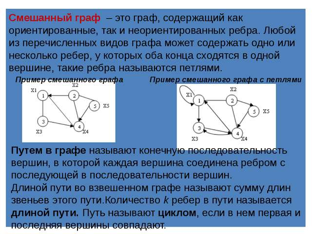 Смешанный граф –это граф, содержащий как ориентированные, так и неориентир...