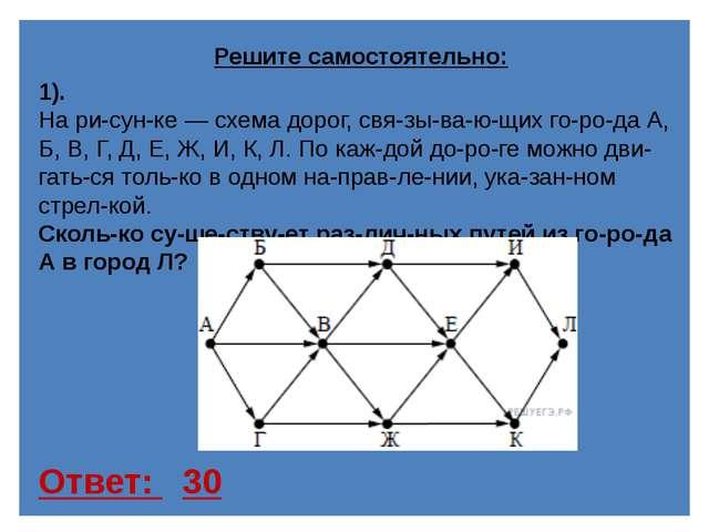 Ответ: 11 3). На рисунке — схема дорог, связывающих города А, Б, В,...