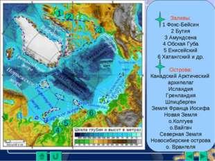 Заливы: 1 Фокс-Бейсин 2 Бутия 3 Амундсена 4 Обская Губа 5 Енисейский 6 Хатан