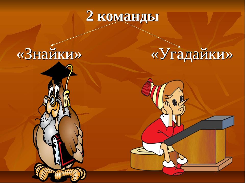 2 команды «Знайки» «Угадайки»