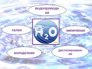 вода дистилированная водопроводная талая колодезная кипячёная