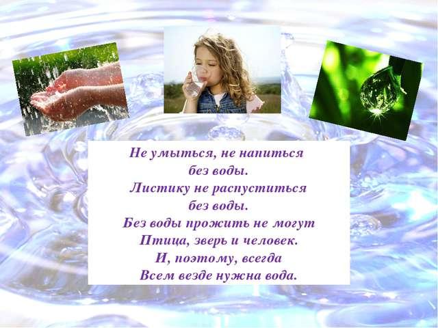 Не умыться, не напиться без воды. Листику не распуститься без воды. Без воды...